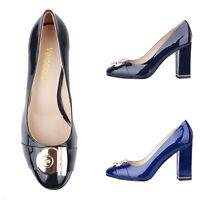 Verocara Women's Chunky Heel Ornament Decoration Genuine Leather Dress Pump Shoe