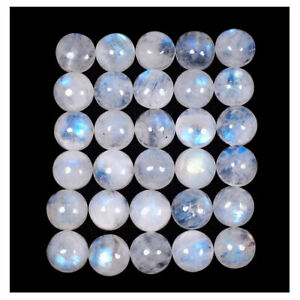 30 Pcs Natural Blue Moonstone 10mm Round Top Quality Flashy Untreated Gemstones