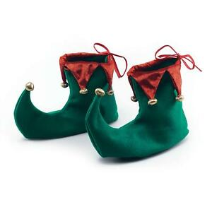 Red Adult Green Elf Jester Pixie Shoes Boots Christmas Fancy Dress Xmas Costume