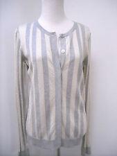 Vera Wang Lavender Label Gold silver Metallic Stripe Cardigan Sweater M