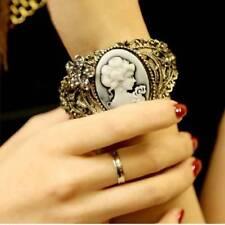 Vintage Cameo Statue Women Ladies Bangle Bracelet Rhinestones Jewelry Gifts