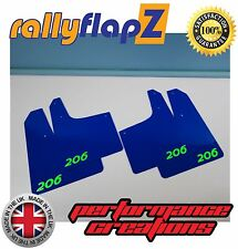 rallyflapZ PEUGEOT 206 Rally Style Mudflaps Mud Flaps Blue Logo L-Green 3mm PVC