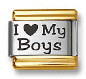 Italian Charm Bracelet Link Laser I Heart My Boys Gold Trim Stainless Steel