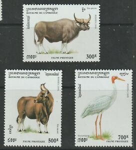 Cambodia 1995 #1434-36 Protected Wildlife - MNH
