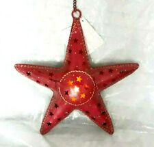 Star lantern, red iron tea light holder star pattern, handmade in India-NEW
