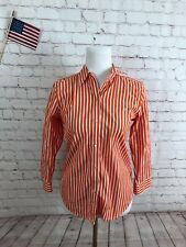 Ralph Lauren Woman Orange Stripe COTTON Button Up Dress Shirt Top Size S $89