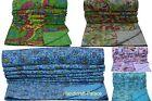 Indian Handmade Floral Throw Kantha Quilt Reversible Bedspread Blanket Ralli Art