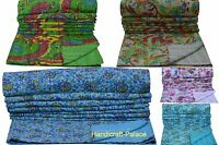 Indian Handmade Floral Throw Kantha Quilt Reversible Bedspread Blanket Ralli Art