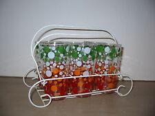 Vintage Glassware Polka Dot Set of 6 Glasses White Metal Carrier Multi Color