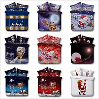 Santa Claus Father Christmas Quilt Duvet Cover Xmas Doube/King Size Bedding Set