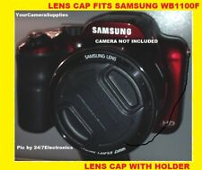 SNAP-ON FRONT LENS CAP DIRECTLY to CAMERA SAMSUNG WB1100 F WB1100F +HOLDER
