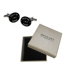 Mens Black Oval 'Trust Me Im A Judge' Cufflinks & Gift Box - By Onyx Art