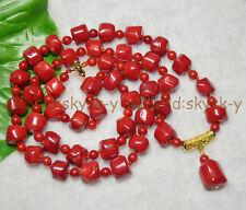 Long 30 inches Real Natural Coral 10-12mm Red Coral Gems Beads Pendant Necklaces