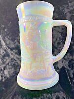 "Vintage Federal Pearl Iridescent Glass Beer Stein Mug Handle Tavern Scene 6"""