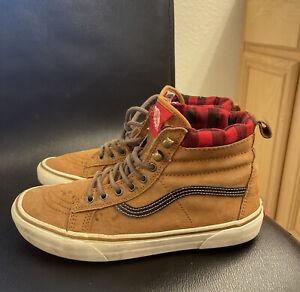 Vans Brown Suede Leather High Top Skate Shoes Old Skool Mens Sz 9.5