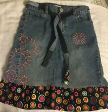 """Circo Girls Size 10 Waist 23""""  L17.5"""" Blue Jean Skirt Upcycled & Embroidered"""