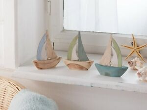 Set 3x Segelboot Holz Schiff Boot Deko Figur maritim Natur MDF matt blau grün