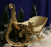 "Vintage 10"" Ornate Gold & Cream Color Plastic Mica Sleigh Decoration"