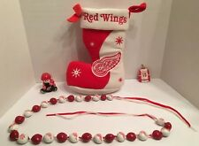 Detroit Red Wings Christmas Lot Of 4 Ornaments Stocking Redwing Holiday String