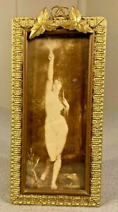Victorian Vintage Antique Gold Gilt Wood Gesso Small Picture Frame & Nude Print