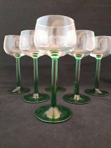 Vintage 1970s Luminarc France Set Of 6 Green Tall Stem Hock Glasses (5b)
