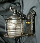 Architectural Salvage Restored Small Cast Iron & Glass Wall Sconce