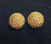 Signed Alpha Gold Tone Round Basket Weave Clip On Earrings