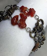 Handmade Men's Carnelian Bracelet Hex Nut Bracelet Carnelian Gemstone Bracelet