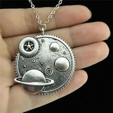 "14-2 18"" Silver Chain Collar Choker Necklace Alloy Planet Universe Earth Pendant"