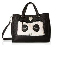 NWT Betsey Johnson Kitsch Panda Tote Bag, Pouch, & Wristlet Black/Cream 3 PIECE