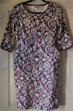 Boden stretchy cotton floral dress pockets purple red blue career comfort 6P 6