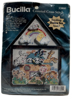 1997 Vtg NIP Bucilla Counted Cross Stitch Embroidery Kit Noahs Ark w/ Frame 8585