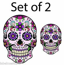 Set of 2 Day Of The Dead Car Stickers - Girls Sugar Skull PINK or BLUE