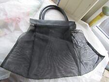 1960s Used Black Stiff Shaped Net and Vinyl Handbag with Two Handles