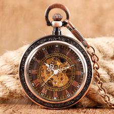 Luxury Retro Skeleton Mechanical Hand Winding Pocket Watch for Men Women Chain