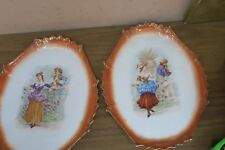 "Pair @ 2  Antique Austrian Porcelain Cabinet Wall Tray Plates Pictorial 9.5""x12"""