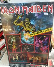 IRON MAIDEN POSTER PACK VINTAGE OUT OF PRINT SEALED LATE 80'S EARLY 90'S 5 PACK