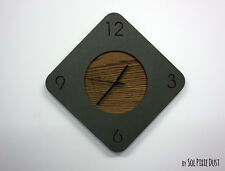 Concrete with Wooden Hole Rhombus Wall Clock - Modern Wall Clock
