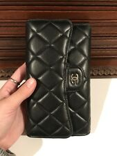 Chanel Wallet Black Flap Quilted luxury lambskin leather classic - MINT!!!