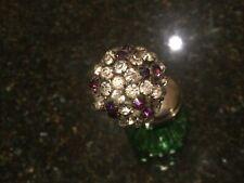 Antique/Vintage Rhinestone Stick Hatpin Purple/Clear Round Flower Beautiful!