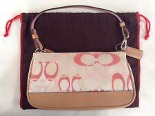 Coach Mini Signature Demi Purse Handbag Canvas Leather White Pink