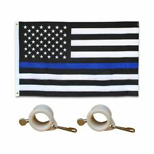 Embroidered Thin Blue Line Flag 3X5 Foot Us American Police w/ Flag Pole Rings