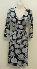 Diane von Furstenberg New Julian Japanese Daisy Grey dress wrap 2 black blue