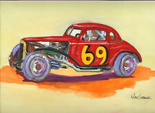 MARIO CARUSO ART PRINT Short Track Modified NASCAR Driver Pro 9 Stock Car 69 V8