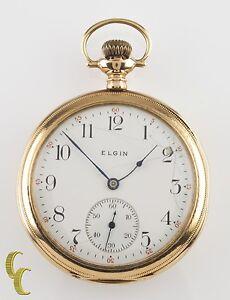 Elgin Open-Face 14k Yellow Gold Antique Pocket Watch Gr 364 12S 15J 1910
