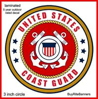 US Coast Guard Emblem Decal Sticker. 3 Inch. Laminated, High Quality