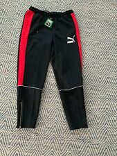 $80 New PUMA Men's Retro Quilted Pants Black , Ribbon Red