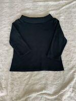Rafaella Studio Off The Shoulder Black Ribbed Mid Sleeve Sweater Top Womens M