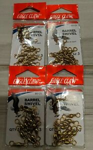 LOT OF 4 NEW IN PACKAGE Eagle Claw Brass Barrel Swivel size 3, (qty 12) BS123