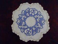 Vintage Doily Hand Blue & White Cross-stitch Crochet Border 21cm diamerter
